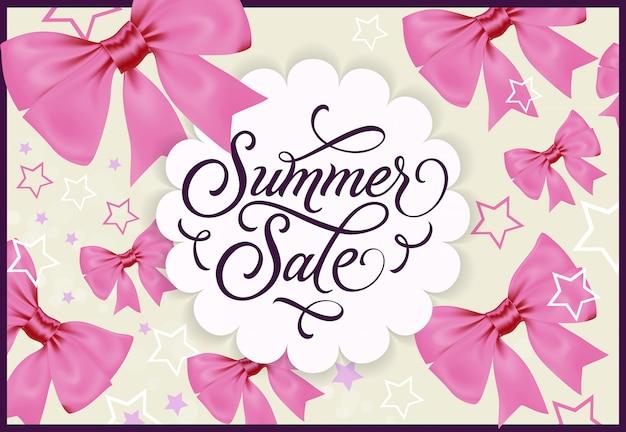 Summer sale label mit rosa bögen und sternen