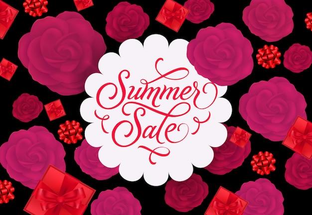 Summer sale label mit rosen und geschenken