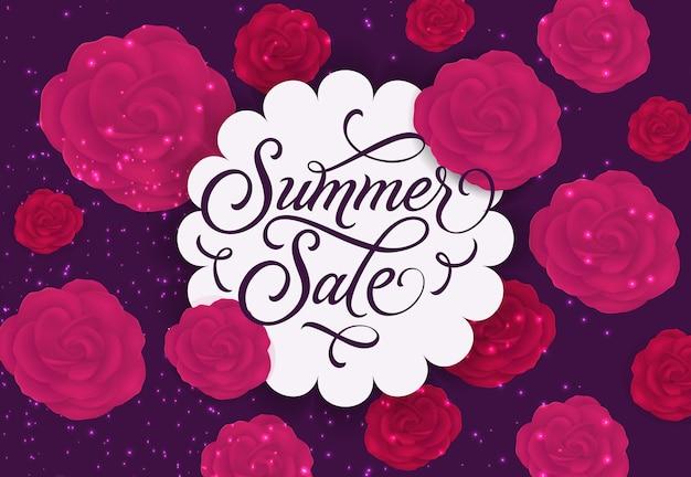 Summer sale label mit rosen und sparkles
