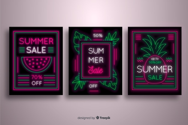Summer sale leuchtreklame banner sammlung