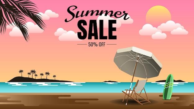 Summer sale masthead mit sommerlandschaft hintergrundillustration