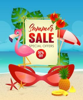 Summer sale schriftzug, flamingo und frau sonnenbrille