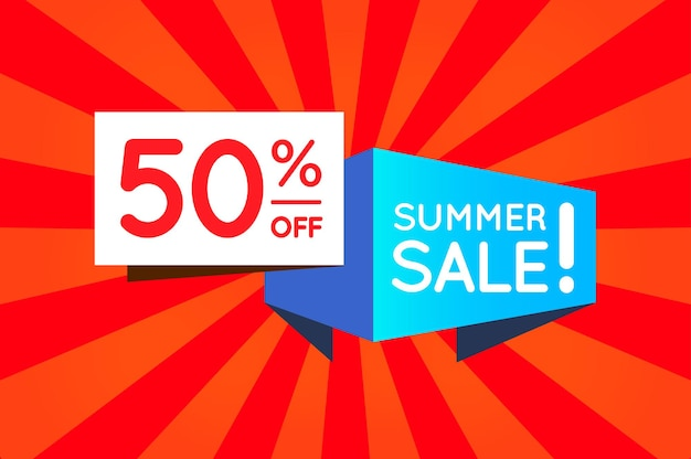 Summer sale sign banner poster bereit für web und print. vektor. super, mega, riesiger sale mit sonderangebot