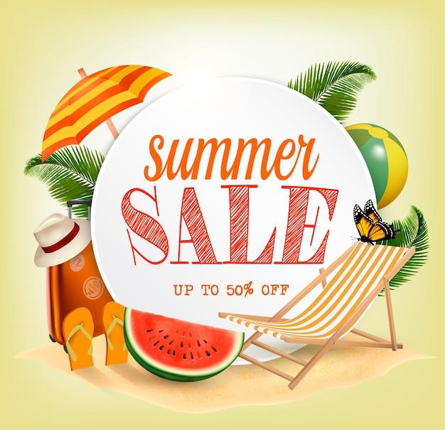 Summer sale template vector banner mit bunten strandelementen. design für die förderung.