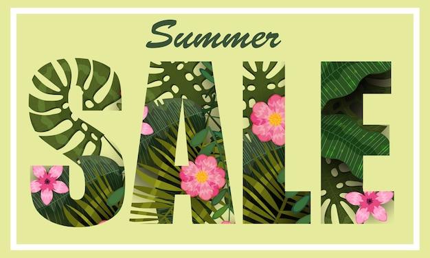 Summer sale trendige tropische blätter und blüten.