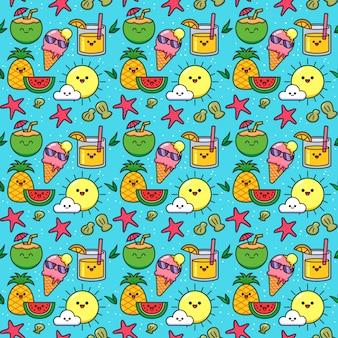 Summer seamless pattern mit kawaii-früchten, eis und cocktails
