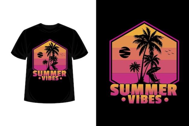 Summer vibes merchandise silhouette t-shirt design