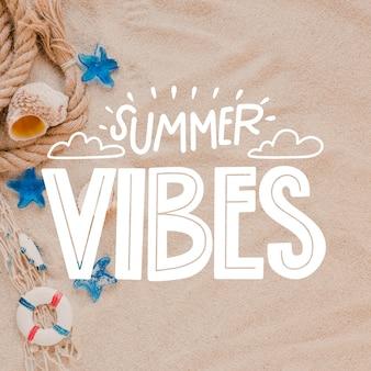 Summer vibes schriftzug mit foto