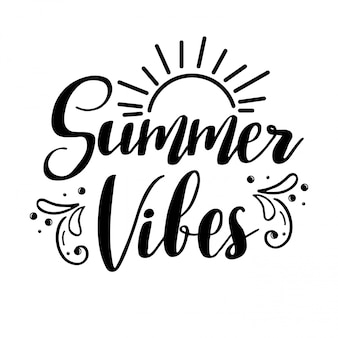 Summer vibes schriftzug. Premium Vektoren