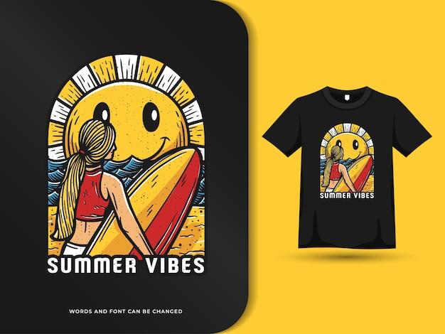 Summer vibes surferin am strand design mit t-shirt-vorlage