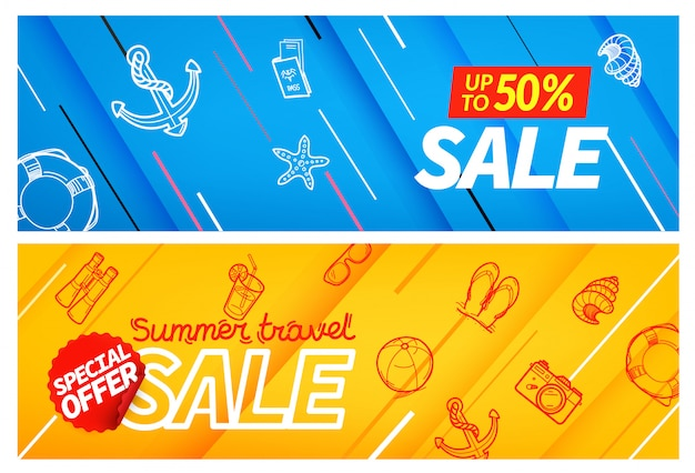 Summertravel sale banner farbset,