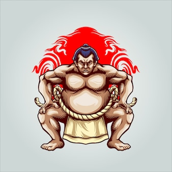 Sumo fighter illustration