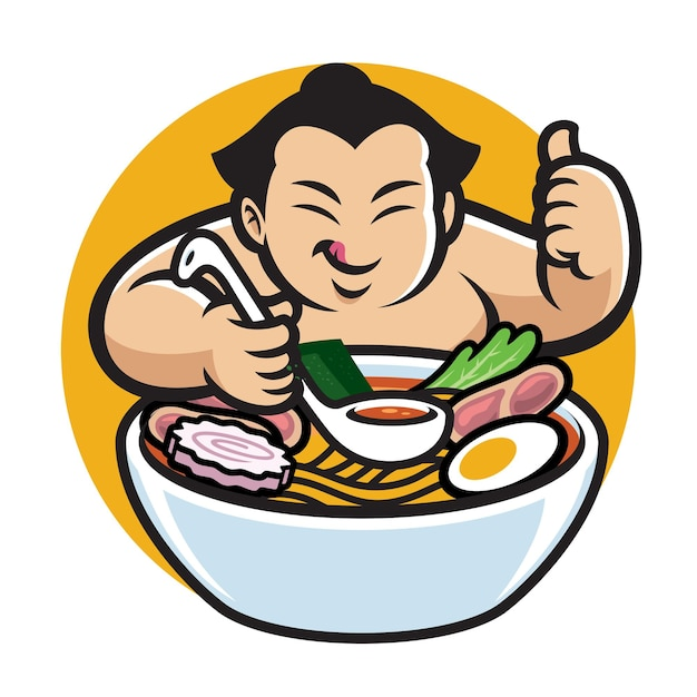 Sumo mit cartoon-stil, der ramen isst