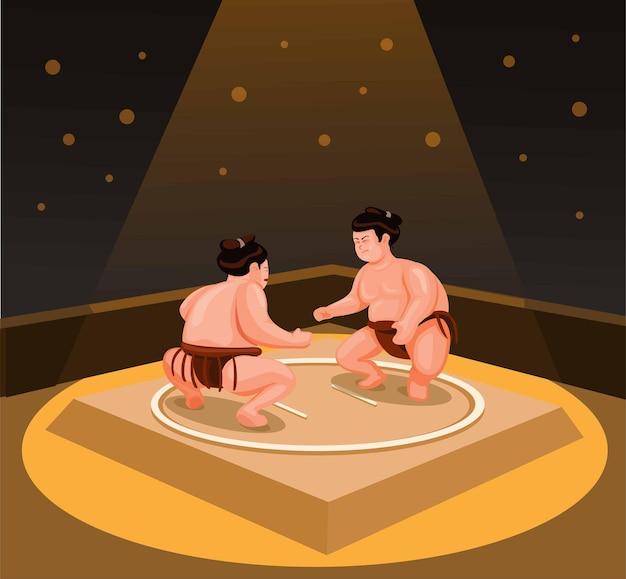 Sumo-ringer, der japanische traditionelle kampfkunst-sport-aktivitätsillustrationsvektor kämpft