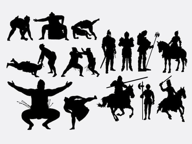 Sumo und ritter kämpfer silhouette