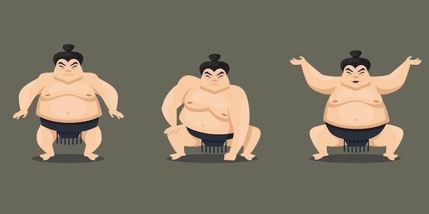 Sumo wrestler in verschiedenen posen. männliche figur im cartoon-stil.