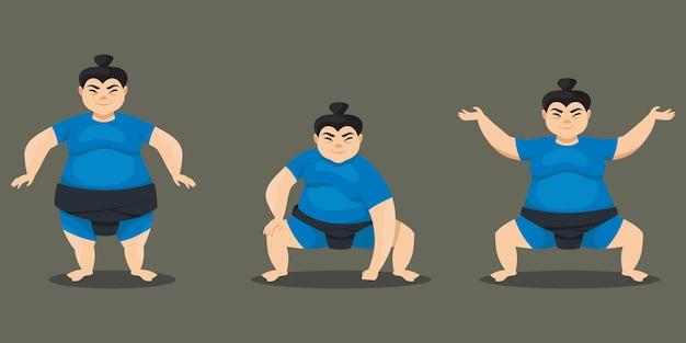 Sumo wrestler in verschiedenen posen. weibliche figur im cartoon-stil.