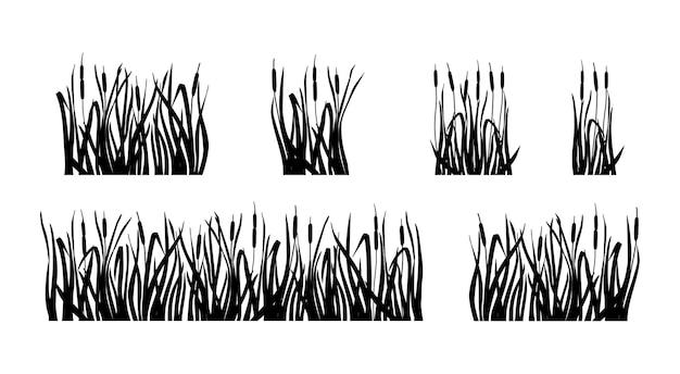 Sumpfgras und schilf eingestellt. silhouette des rohrkolbens isoliert auf weißem hintergrund. vektor-illustration.