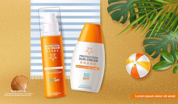 Sun cream flasche 3d realistisch isoliert, meer hintergrund, tropischen strand, verpackung, schutz sonnencreme, spf 50 sommer kosmetik illustration