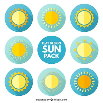 Sun icons pack in flache bauform