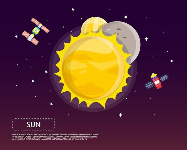 Sun mercury und venus des sonnensystemillustrationsdesigns