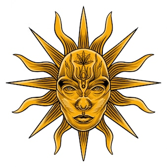 Sun-tarot-kartenvektor