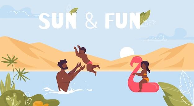 Sun und spaß-motivations-plakat mit glücklicher familie