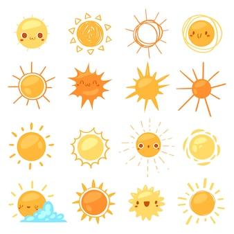 Sun-vektor sonnig mit gelbem sonnenlicht und sonnenschein emoticonillustrationssatz hellem sonnendurchbruchwetterzeichensonnenuntergang oder -sonnenaufgang lokalisiert