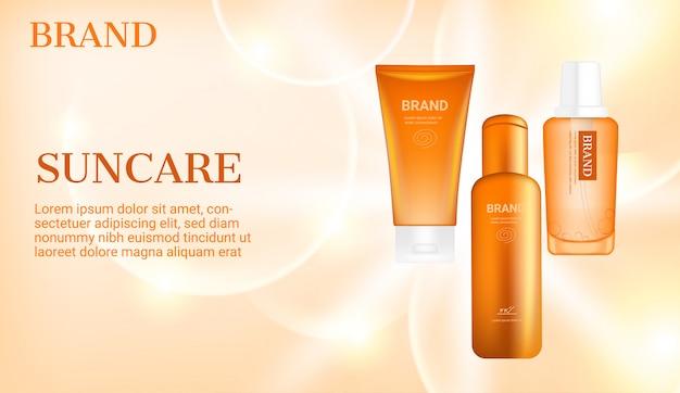 Sunblock-produkte mit großen blasen auf hellem strahlendem hintergrund