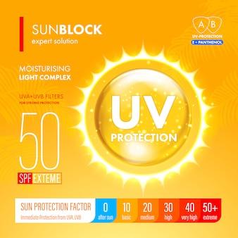 Sunblock suncare starker schutz. spf-lösungsdesign