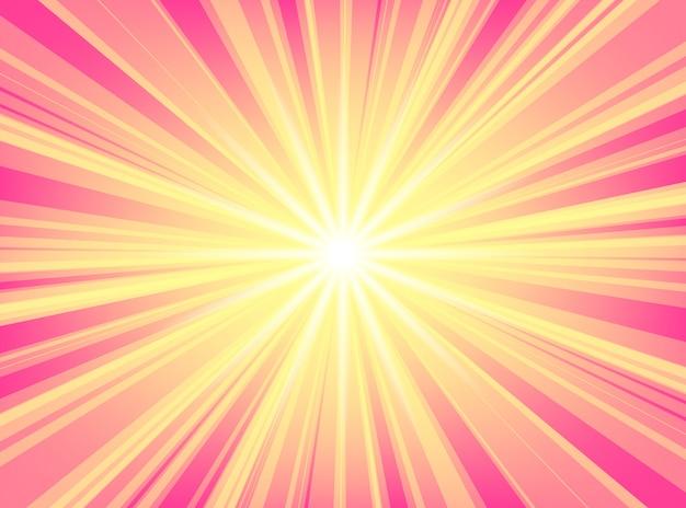 Sunburst hell mit leuchtenden strahlen des abstrakten hintergrunds des lichts
