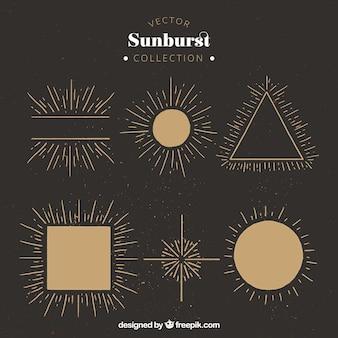 Sunburst in verschiedenen formen