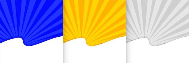 Sunburst-präsentationsvorlage in drei farben