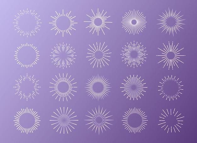 Sunburst stellte weiße farbe lokalisiert auf hintergrund für logo ein