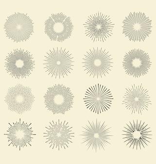 Sunburst-weinlese-elemente eingestellt