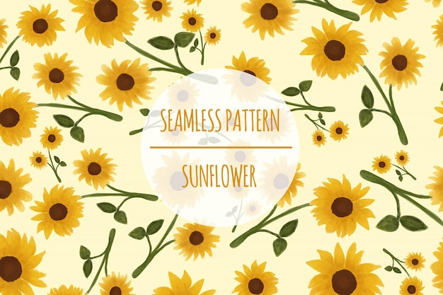 Sunflower seamless pattern premium