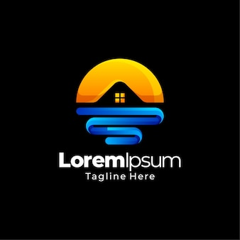Sunset immobilien gradient logo vorlage design