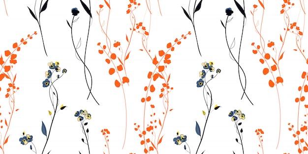 Sunset meadow plants nahtloses muster im skandinavischen stil