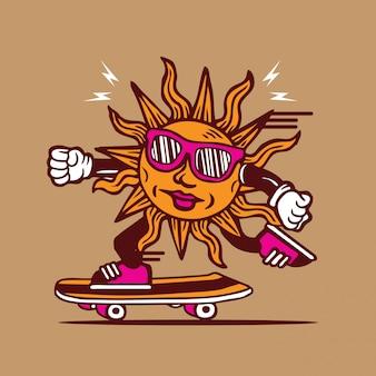 Sunshine funky skateboarding character design