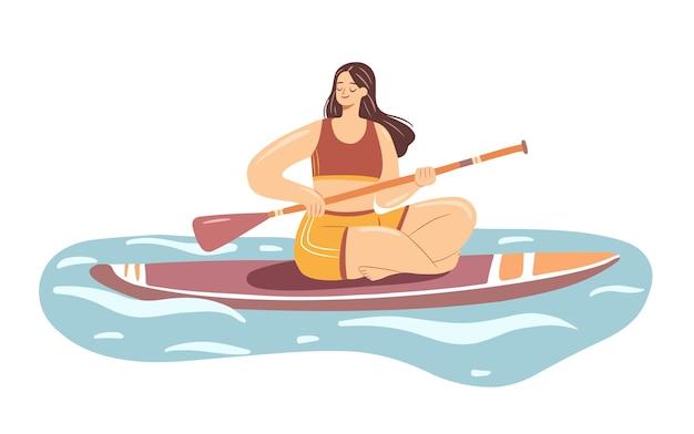 Sup-boarding-mädchen junge frau in einem badeanzug auf paddle-board sommer-wassersport-aktivität Premium Vektoren
