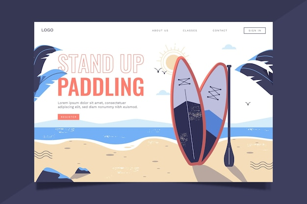 Sup-landingpage im flachen design