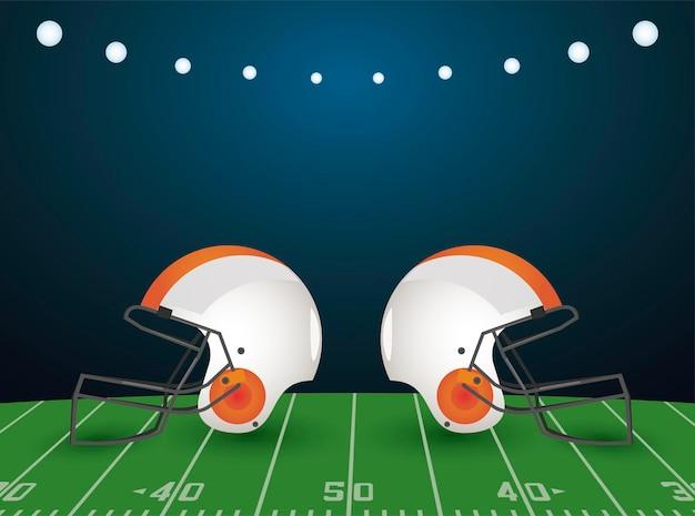 Super bowl meisterschaftsplakat mit helmen im stadion