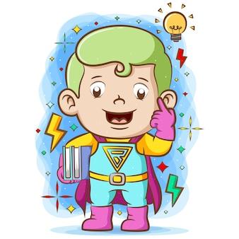Super boy benutzt die super suite und hält zwei bücher