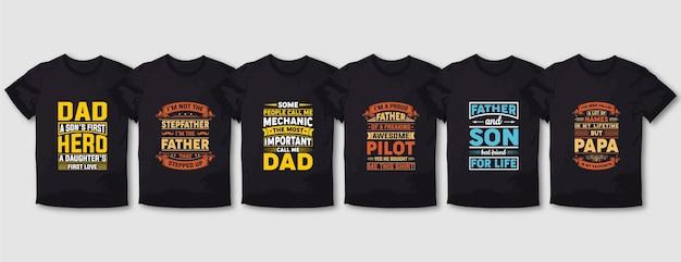 Super daddy mama typografie t-shirt design-set
