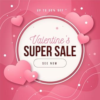 Super design zum valentinstag mit flachem design