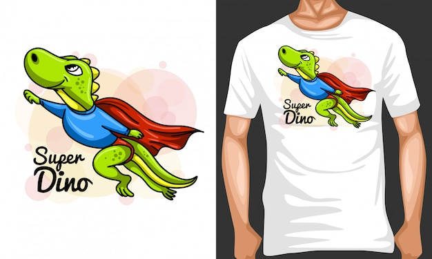 Super dino cartoon illustration und merchandising design