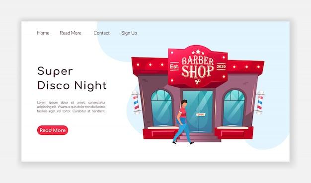 Super disco nacht landing page farbvorlage. barbershop homepage layout. friseur eine seite website-schnittstelle mit cartoon-illustration. pflege salon web, webseite