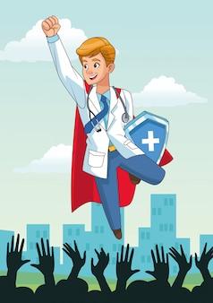 Super doktor fliegt mit schild und menschen jubeln