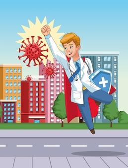 Super doktor mit heldenumhang und schild gegen covid19 auf der stadt