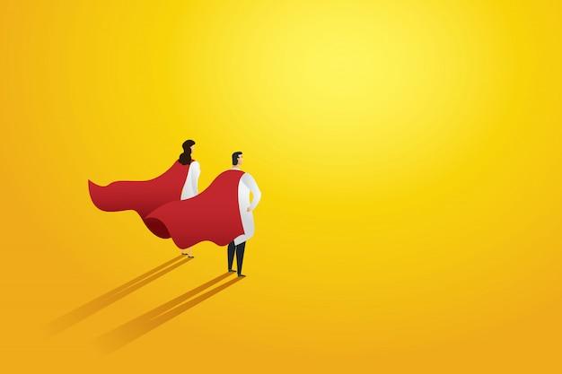 Super doktor zwei personen professionellen roten superhelden umhang. charakter.
